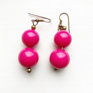 Preppy hot pink J. Crew beaded ball drop earrings